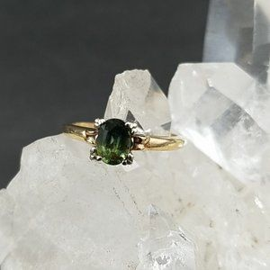 Natural .68ct Green Sapphire 14k Gold Ring
